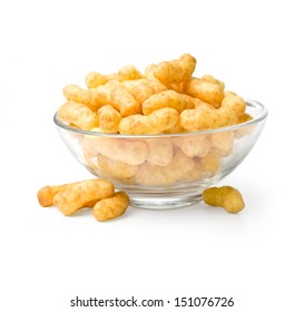 Flips snacks on the plate. With clipping path