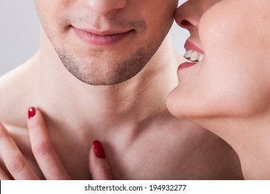 A flirting couple before erotic situation, horizontal