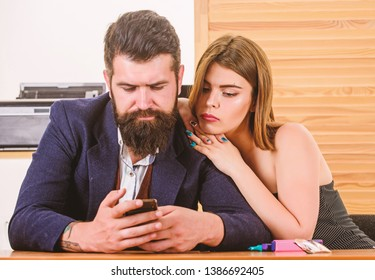 Flirting with coworker. Woman flirting with coworker. Woman attractive lady working with man colleague. Office collective concept. Sexual attraction. Stimulate sexual desire. Flirting and seduction.