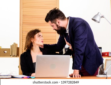 Flirting with coworker. Woman flirting with guy coworker. Woman attractive lady with man colleague. Office collective concept. Flirting at workplace entirely unprofessional. Flirting and seduction.
