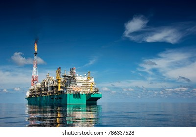 FLNG or floating liquefied natural gas at sea during sunny day