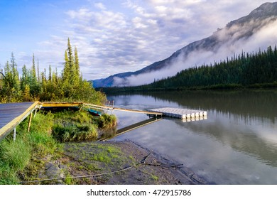 Float plane dock at Virginia falls in morning lights - Nahanni National Park Reserve, Northwest Territories, Canada