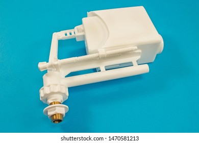 Float for toilet valve mechanism and tank water flashing isolated on blue