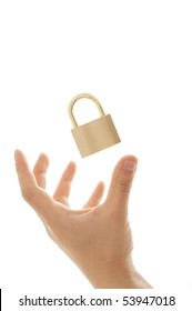 floated padlock and hand