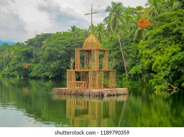 Floating Bamboo Chapel on Labasin Lake that runs through Villa Escudero of Laguna Philippines