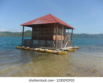 Floating bamboo house on the clear blue water color beach in Lombok Island, West Nusa Tenggara Indonesia
