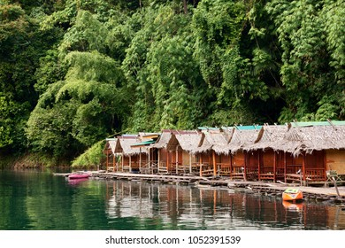 Floating bamboo huts on Cheow Lan Lake in Khao Sok National Park, Thailand