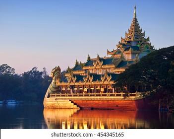 Floating Barge Karaweik Hall on Kandawgyi lake in Yangon, Myanmar