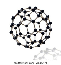 floating black and chrome molecule over white background