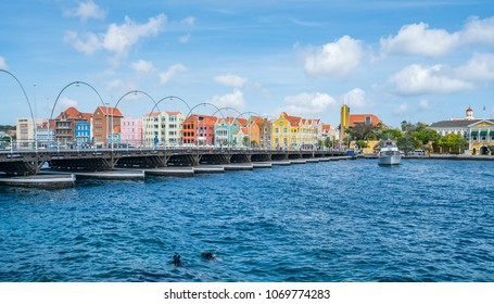 Floating bridge at Punda views around the small Caribbean island of Curacao