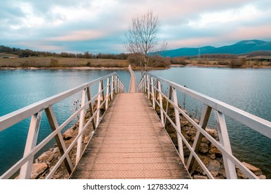 floating bridge in the reservoir of Ullibarri Gamboa, Alava, Basque Country
