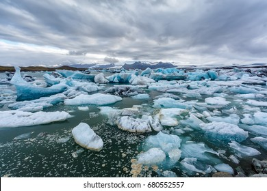 Floating chunks of ice in ice lagoon in Iceland