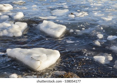 Floating chunks of ice in the sea in coastal Southeast Alaska.