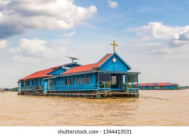 Floating Church in Chong Khneas floating village near Siem Reap, Cambodia in a summer day