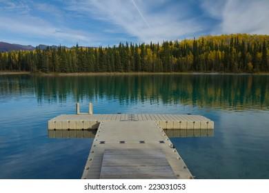 Floating dock at pristine Boya Lake Provincial Park, along the Cassiar Highway, British Columbia