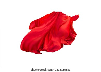 floating elegance glamour silk skirt long train. Beautiful flowing fabric flying wind. Red wavy satin. Abstract element cloth design. Image isolated white background. natural soft light
