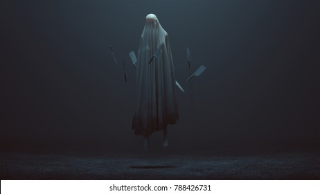 Floating Evil Spirit in a foggy void with Floating knifes 3d Illustration 3d Rendering