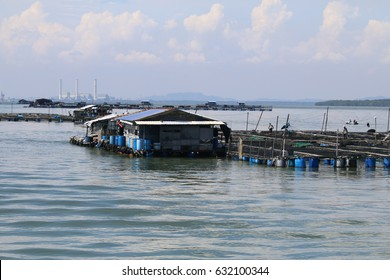 Floating fish platforms where fish are bred in cages near Pulau Ketam fishing village in Klang, Malaysia.