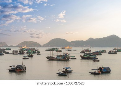 Floating fishing village in Halong Bay, Vietnam, Southeast Asia.