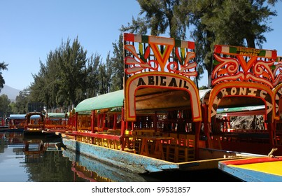 Floating garden on boat in Mexico city, Xochimilco