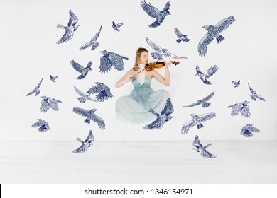 floating girl in blue dress playing violin with birds illustration