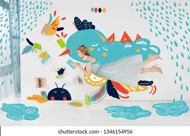 floating girl in blue dress reading book with rain illustration