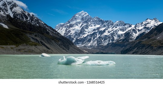 Floating glacial chunks in the stunning Hooker Lake in New Zealand