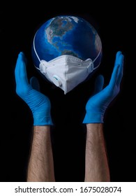 Floating globe with mask and floating, and underneath some hands with protective gloves