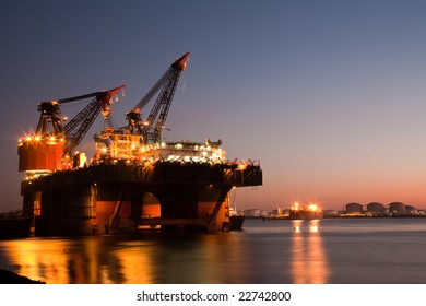 Floating Heavy Cranes working throughout the night
