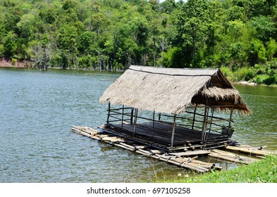 Floating house beautiful scenery. Dam reservoir in thailand
