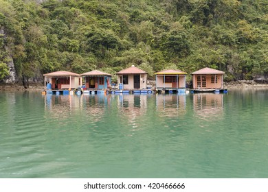floating houses of fishermen in ha long bay vietnam