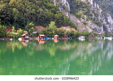 floating houses on Drina river Serbia
