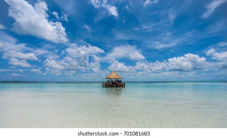 A Floating Hut on the Ocean in the Bahamas