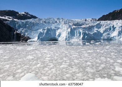 Floating ice in the Kenai Fjords National Park on a clear sunny day