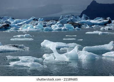 Floating ice in a lagoon of icebergs in Iceland