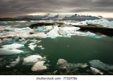 Floating ice in a lagoon of icebergs, Iceland