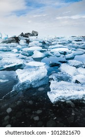 Floating ice and rock at Jokulsarlon glacier lagoon, Iceland, in the winter iceland