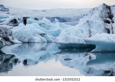 Floating iceberg fron the melding glacier Jokulsarlon in Iceland