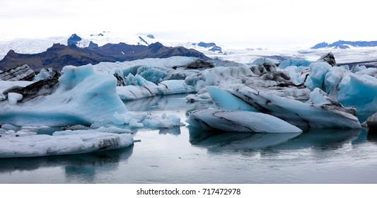 Floating icebergs at glacier lagoon, Iceland