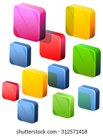 Floating Icon Blocks - Illustration
