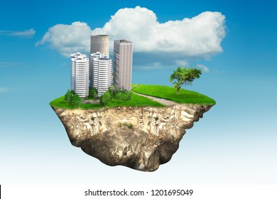 Floating island with cityscape and road