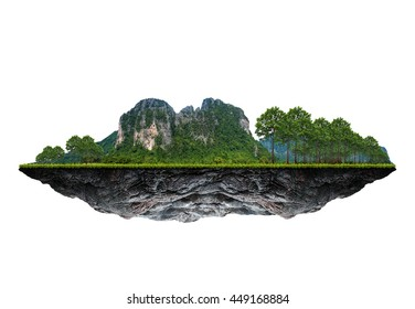 The floating island on white background.