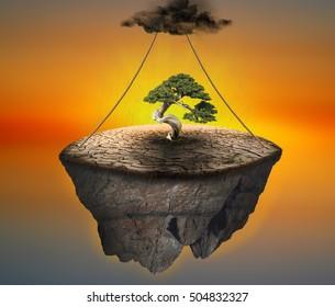 Floating island photo manipulation/Floating island