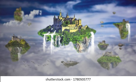 Floating islands in the above sky