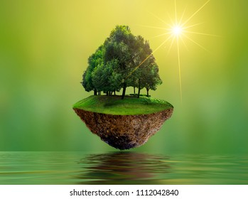 Floating islands with trees Lake river in the sky World Environment Day World Conservation Day environment