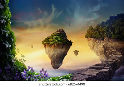 Floating islands with vegetation and magic castles