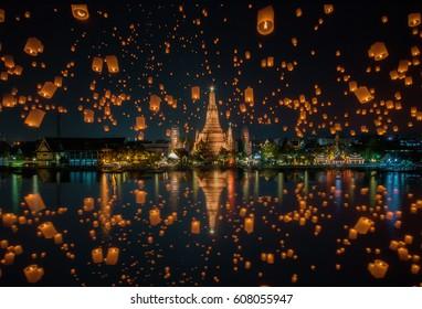 Floating lamp in yee peng festival at wat arun, Bangkok, Thailand