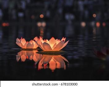 Floating lantern at night