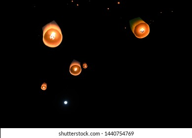 Floating lanterns into the night sky, with the belief that misfortune will fly away with the lanterns, lanterns is made from a light bamboo frame covered with mulberry paper