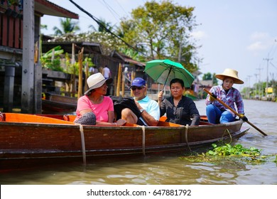 The Floating Market in Bangkok, Thailand, where traditionally a lot of fresh produce are sold, February 2017
